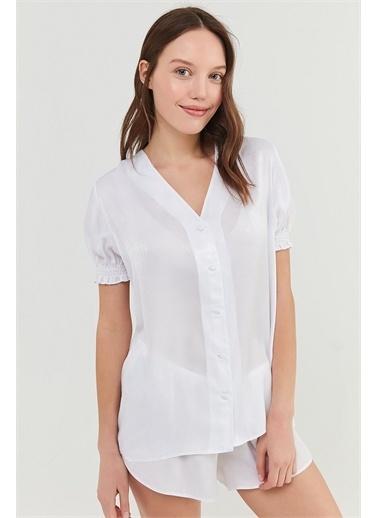 Penti Optik Beyaz Bridal Pure Satin Gömlek Şort Takımı Beyaz